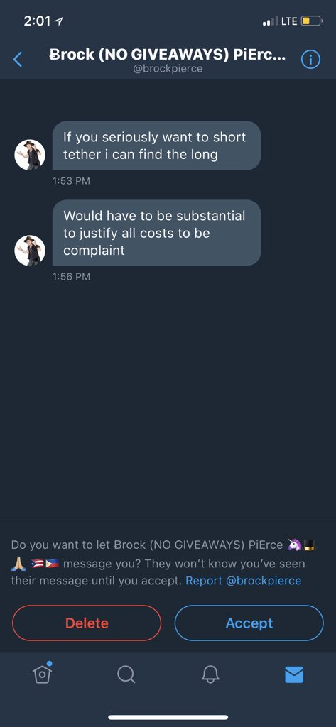 "Image of Brock Pierce DMing me with the following messages: ""If you seriously want to short tether i can find the long"", ""Would have to be substantial to justify all costs to be compliant"""